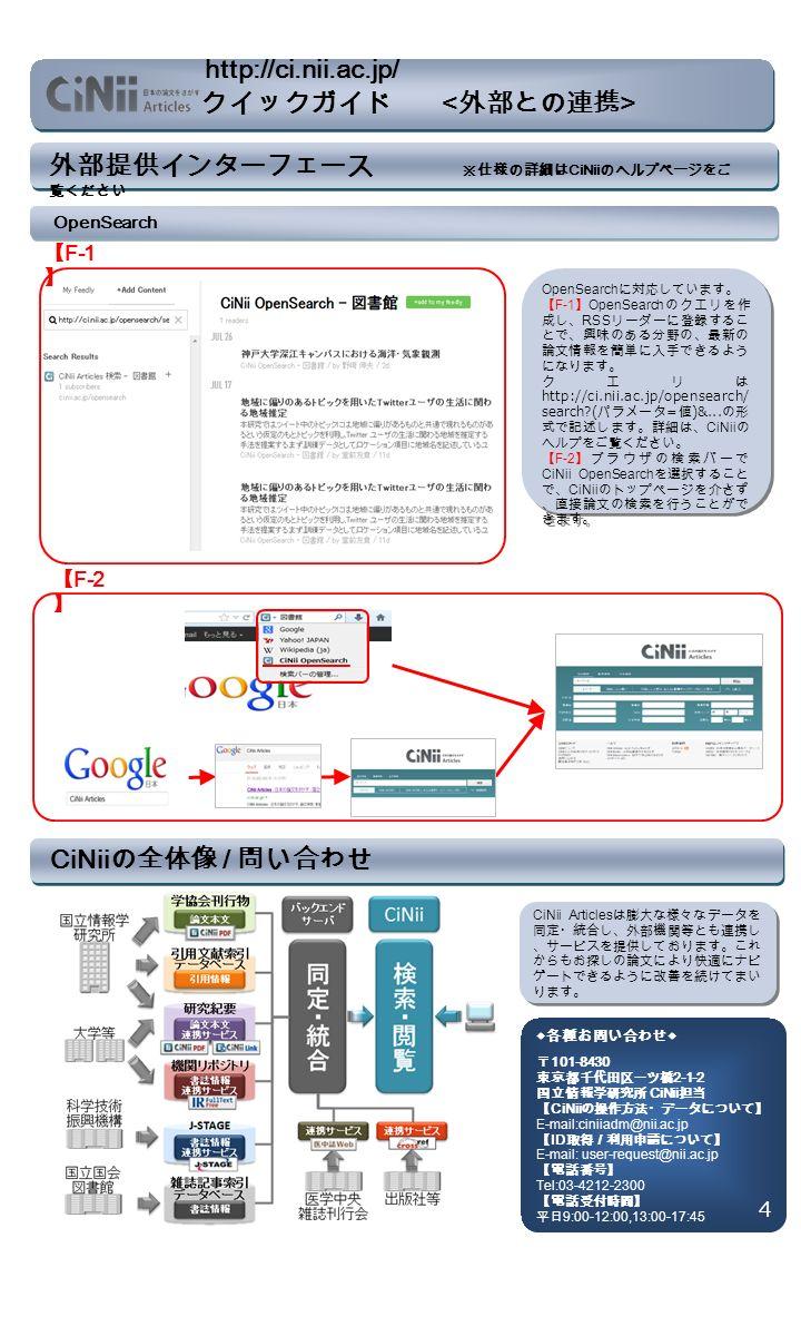 外部提供インターフェース ※仕様の詳細は CiNii のヘルプページをご 覧ください OpenSearch 【 F-1 】 OpenSearch に対応しています。 【 F-1 】 OpenSearch のクエリを作 成し、 RSS リーダーに登録するこ とで、興味のある分野の、最新の 論文情報を簡単に入手できるよう になります。 クエリは http://ci.nii.ac.jp/opensearch/ search ( パラメータ = 値 )&...