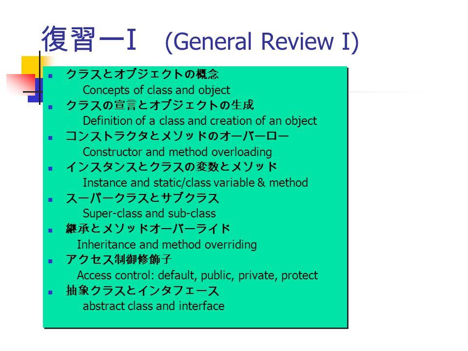 復習ー I (General Review I) クラスとオブジェクトの概念 Concepts of class and object クラスの宣言とオブジェクトの生成 Definition of a class and creation of an object コンストラクタとメソッドのオーバーロー Constructor and method overloading インスタンスとクラスの変数とメソッド Instance and static/class variable & method スーパークラスとサブクラス Super-class and sub-class 継承とメソッドオーバーライド Inheritance and method overriding アクセス制御修飾子 Access control: default, public, private, protect 抽象クラスとインタフェース abstract class and interface クラスとオブジェクトの概念 Concepts of class and object クラスの宣言とオブジェクトの生成 Definition of a class and creation of an object コンストラクタとメソッドのオーバーロー Constructor and method overloading インスタンスとクラスの変数とメソッド Instance and static/class variable & method スーパークラスとサブクラス Super-class and sub-class 継承とメソッドオーバーライド Inheritance and method overriding アクセス制御修飾子 Access control: default, public, private, protect 抽象クラスとインタフェース abstract class and interface