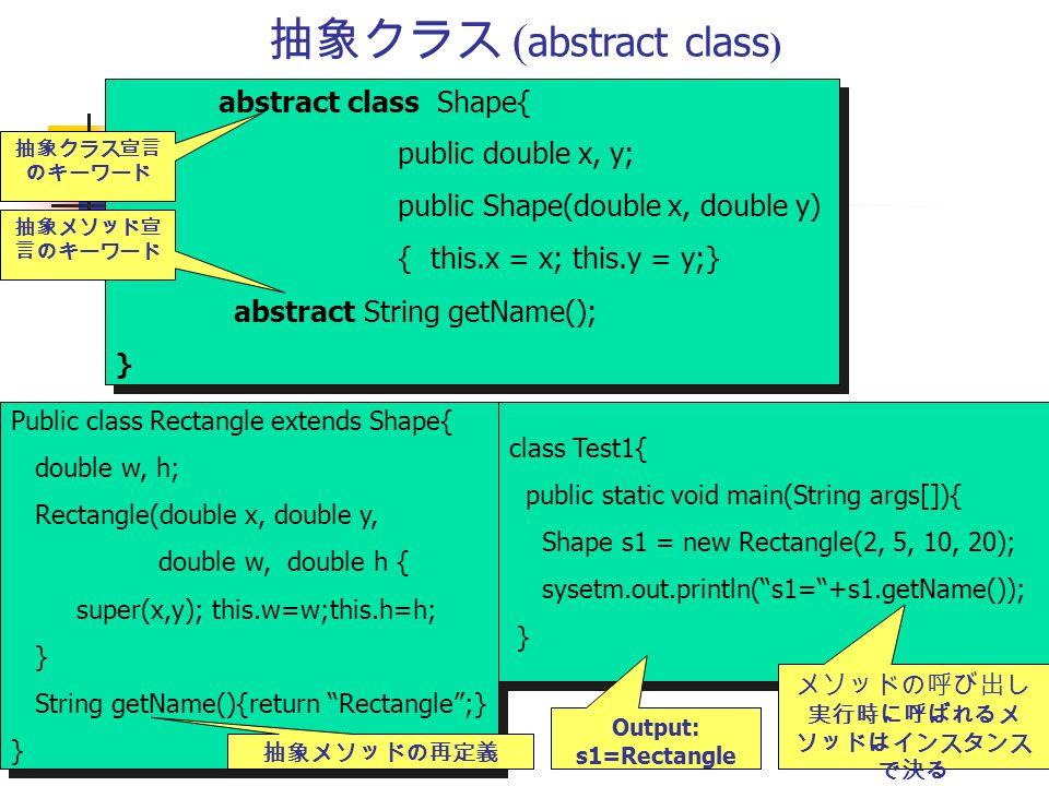 抽象クラス ( abstract class ) abstract class Shape{ public double x, y; public Shape(double x, double y) { this.x = x; this.y = y;} abstract String getName(); } abstract class Shape{ public double x, y; public Shape(double x, double y) { this.x = x; this.y = y;} abstract String getName(); } 抽象クラス宣言 のキーワード 抽象メソッド宣 言のキーワード Public class Rectangle extends Shape{ double w, h; Rectangle(double x, double y, double w, double h { super(x,y); this.w=w;this.h=h; } String getName(){return Rectangle ;} } Public class Rectangle extends Shape{ double w, h; Rectangle(double x, double y, double w, double h { super(x,y); this.w=w;this.h=h; } String getName(){return Rectangle ;} } 抽象メソッドの再定義 class Test1{ public static void main(String args[]){ Shape s1 = new Rectangle(2, 5, 10, 20); sysetm.out.println( s1= +s1.getName()); } class Test1{ public static void main(String args[]){ Shape s1 = new Rectangle(2, 5, 10, 20); sysetm.out.println( s1= +s1.getName()); } メソッドの呼び出し 実行時に呼ばれるメ ソッドはインスタンス で決る Output: s1=Rectangle