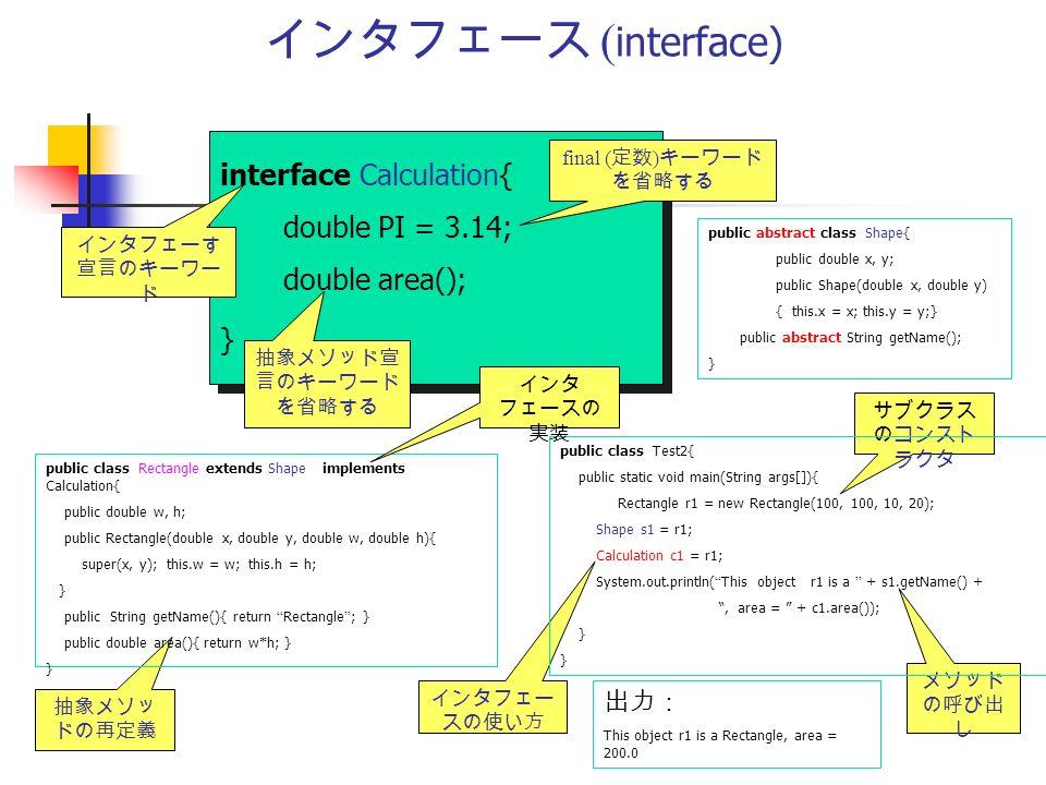 インタフェース ( interface) interface Calculation{ double PI = 3.14; double area(); } interface Calculation{ double PI = 3.14; double area(); } インタフェーす 宣言のキーワー ド 抽象メソッド宣 言のキーワード を省略する 抽象メソッ ドの再定義 出力: This object r1 is a Rectangle, area = 200.0 インタフェー スの使い方 サブクラス のコンスト ラクタ メソッド の呼び出 し final ( 定数 ) キーワード を省略する public abstract class Shape{ public double x, y; public Shape(double x, double y) { this.x = x; this.y = y;} public abstract String getName(); } public class Rectangle extends Shape implements Calculation{ public double w, h; public Rectangle(double x, double y, double w, double h){ super(x, y); this.w = w; this.h = h; } public String getName(){ return Rectangle ; } public double area(){ return w*h; } } public class Test2{ public static void main(String args[]){ Rectangle r1 = new Rectangle(100, 100, 10, 20); Shape s1 = r1; Calculation c1 = r1; System.out.println( This object r1 is a + s1.getName() + , area = + c1.area()); } インタ フェースの 実装