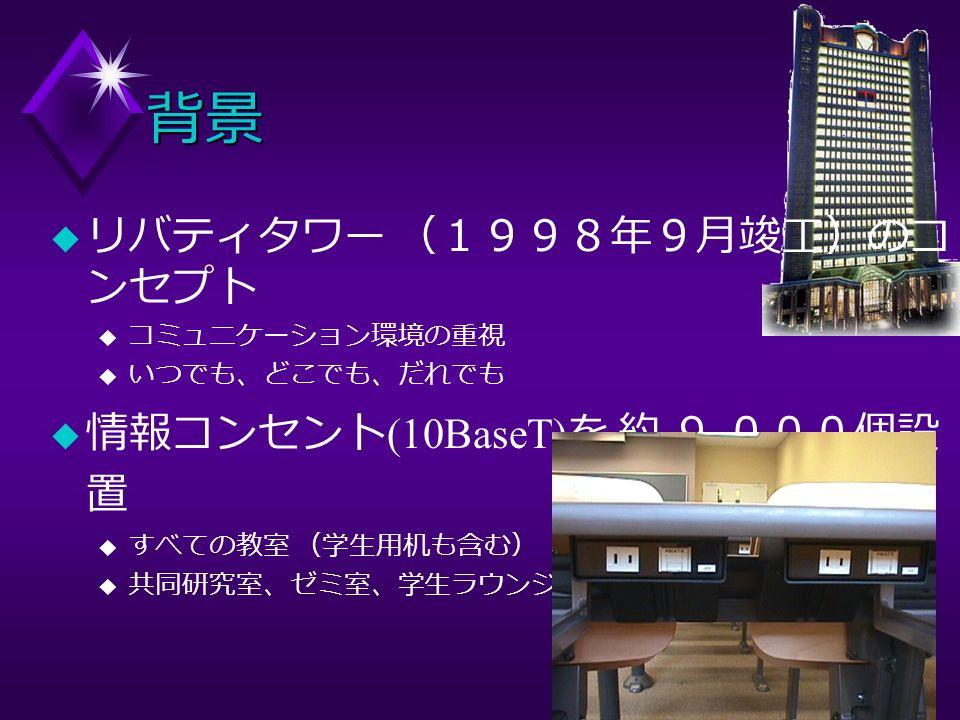 背景 u リバティタワー (1998年9月竣工)のコ ンセプト u コミュニケーション環境の重視 u いつでも、どこでも、だれでも u 情報コンセント (10BaseT) を 約 9, 000個設 置 u すべての教室 (学生用机も含む) u 共同研究室、ゼミ室、学生ラウンジ