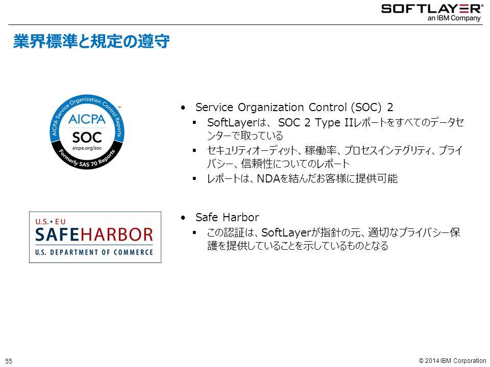 © 2014 IBM Corporation Service Organization Control (SOC) 2  SoftLayerは、 SOC 2 Type IIレポートをすべてのデータセ ンターで取っている  セキュリティオーディット、稼働率、プロセスインテグリティ、プライ バシー、信頼性についてのレポート  レポートは、NDAを結んだお客様に提供可能 Safe Harbor  この認証は、SoftLayerが指針の元、適切なプライバシー保 護を提供していることを示しているものとなる 業界標準と規定の遵守 55