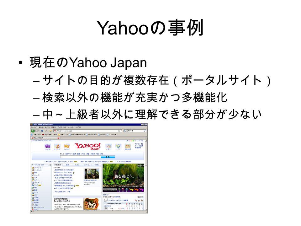 Yahoo の事例 現在の Yahoo Japan – サイトの目的が複数存在(ポータルサイト) – 検索以外の機能が充実かつ多機能化 – 中~上級者以外に理解できる部分が少ない