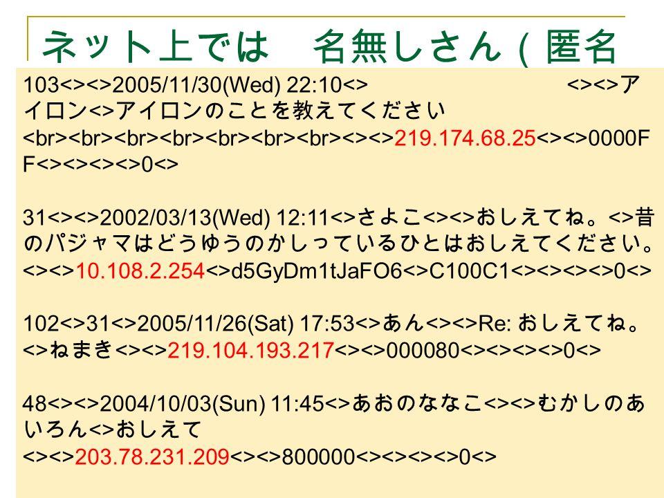 ネット上では 名無しさん(匿名 )? 103<><>2005/11/30(Wed) 22:10<> <><> ア イロン <> アイロンのことを教えてください <><>219.174.68.25<><>0000F F<><><><>0<> 31<><>2002/03/13(Wed) 12:11<> さよこ <><> おしえてね。 <> 昔 のパジャマはどうゆうのかしっているひとはおしえてください。 <><>10.108.2.254<>d5GyDm1tJaFO6<>C100C1<><><><>0<> 102<>31<>2005/11/26(Sat) 17:53<> あん <><>Re: おしえてね。 <> ねまき <><>219.104.193.217<><>000080<><><><>0<> 48<><>2004/10/03(Sun) 11:45<> あおのななこ <><> むかしのあ いろん <> おしえて <><>203.78.231.209<><>800000<><><><>0<>