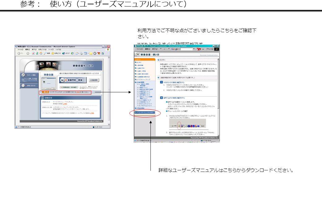 参考: 使い方(ユーザーズマニュアルについて) 利用方法でご不明な点がございましたらこちらをご確認下 さい。 WEB 上からすぐに確認可能です。 詳細なユーザーズマニュアルはこちらからダウンロードください。