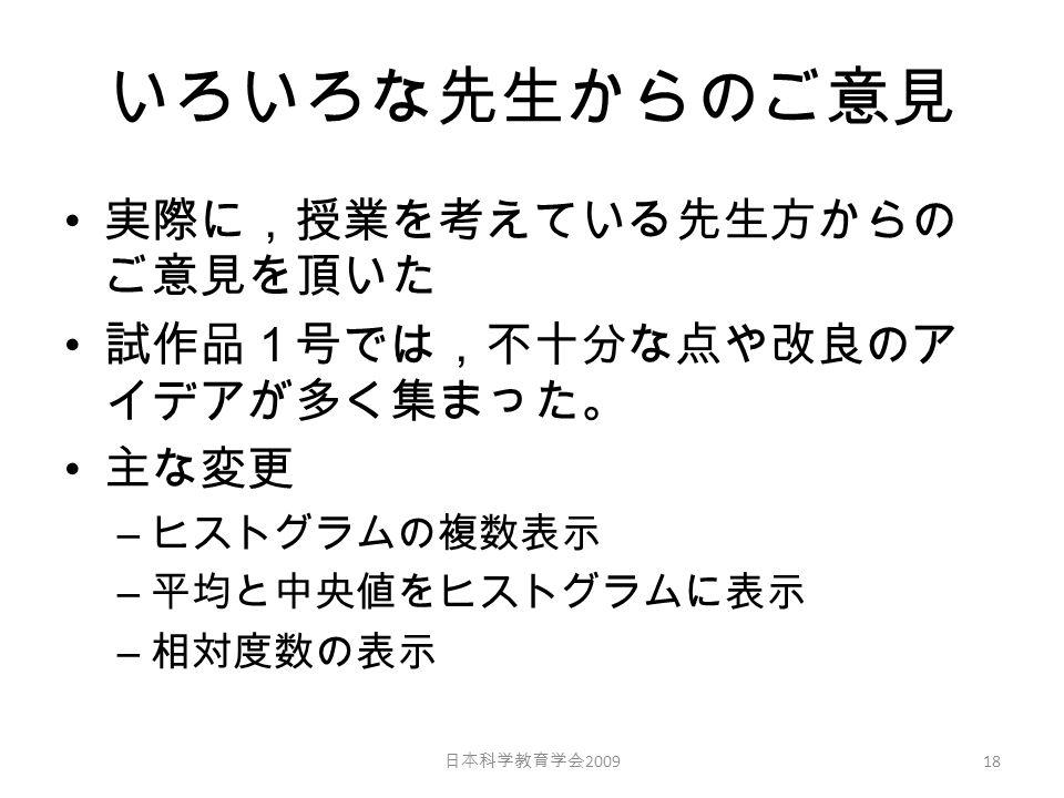 いろいろな先生からのご意見 実際に,授業を考えている先生方からの ご意見を頂いた 試作品1号では,不十分な点や改良のア イデアが多く集まった。 主な変更 – ヒストグラムの複数表示 – 平均と中央値をヒストグラムに表示 – 相対度数の表示 日本科学教育学会 2009 18