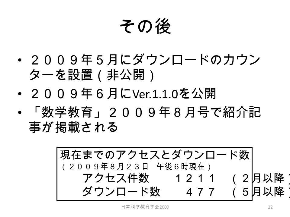 その後 2009年5月にダウンロードのカウン ターを設置(非公開) 2009年6月に Ver.1.1.0 を公開 「数学教育」2009年8月号で紹介記 事が掲載される 日本科学教育学会 2009 22 現在までのアクセスとダウンロード数 (2009年8月23日 午後6時現在) アクセス件数 1211 (2月以降) ダウンロード数 477 (5月以降)