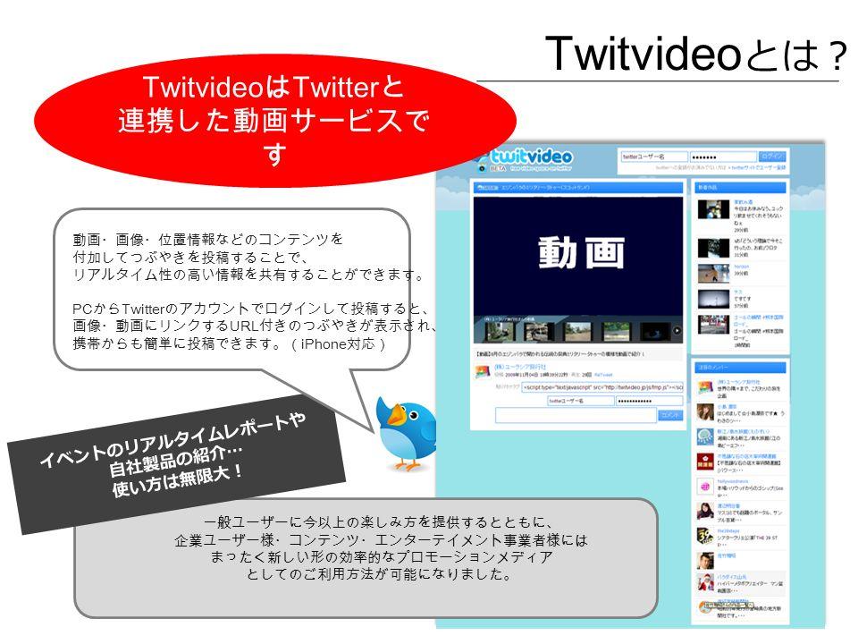 Twitvideo とは? 一般ユーザーに今以上の楽しみ方を提供するとともに、 企業ユーザー様・コンテンツ・エンターテイメント事業者様には まったく新しい形の効率的なプロモーションメディア としてのご利用方法が可能になりました。 イベントのリアルタイムレポートや 自社製品の紹介 … 使い方は無限大! Twitvideo は Twitter と 連携した動画サービスで す 動画・画像・位置情報などのコンテンツを 付加してつぶやきを投稿することで、 リアルタイム性の高い情報を共有することができます。 PC から Twitter のアカウントでログインして投稿すると、 画像・動画にリンクする URL 付きのつぶやきが表示され、 携帯からも簡単に投稿できます。( iPhone 対応)