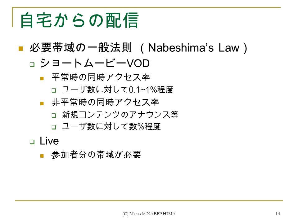 (C) Masaaki NABESHIMA 14 自宅からの配信 必要帯域の一般法則 ( Nabeshima's Law )  ショートムービー VOD 平常時の同時アクセス率  ユーザ数に対して 0.1~1% 程度 非平常時の同時アクセス率  新規コンテンツのアナウンス等  ユーザ数に対して数 % 程度  Live 参加者分の帯域が必要