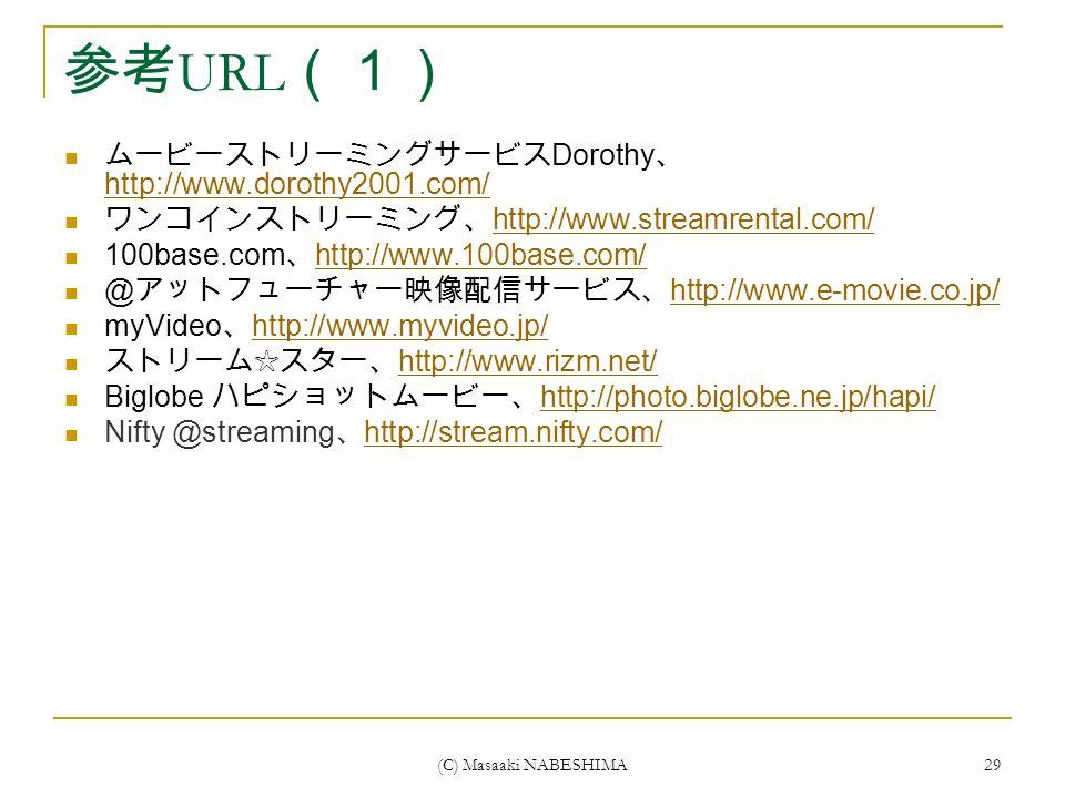 (C) Masaaki NABESHIMA 29 参考 URL (1) ムービーストリーミングサービス Dorothy 、 http://www.dorothy2001.com/ http://www.dorothy2001.com/ ワンコインストリーミング、 http://www.streamrental.com/ http://www.streamrental.com/ 100base.com 、 http://www.100base.com/ http://www.100base.com/ @ アットフューチャー映像配信サービス、 http://www.e-movie.co.jp/ http://www.e-movie.co.jp/ myVideo 、 http://www.myvideo.jp/ http://www.myvideo.jp/ ストリーム☆スター、 http://www.rizm.net/ http://www.rizm.net/ Biglobe ハピショットムービー、 http://photo.biglobe.ne.jp/hapi/ http://photo.biglobe.ne.jp/hapi/ Nifty @streaming 、 http://stream.nifty.com/ http://stream.nifty.com/