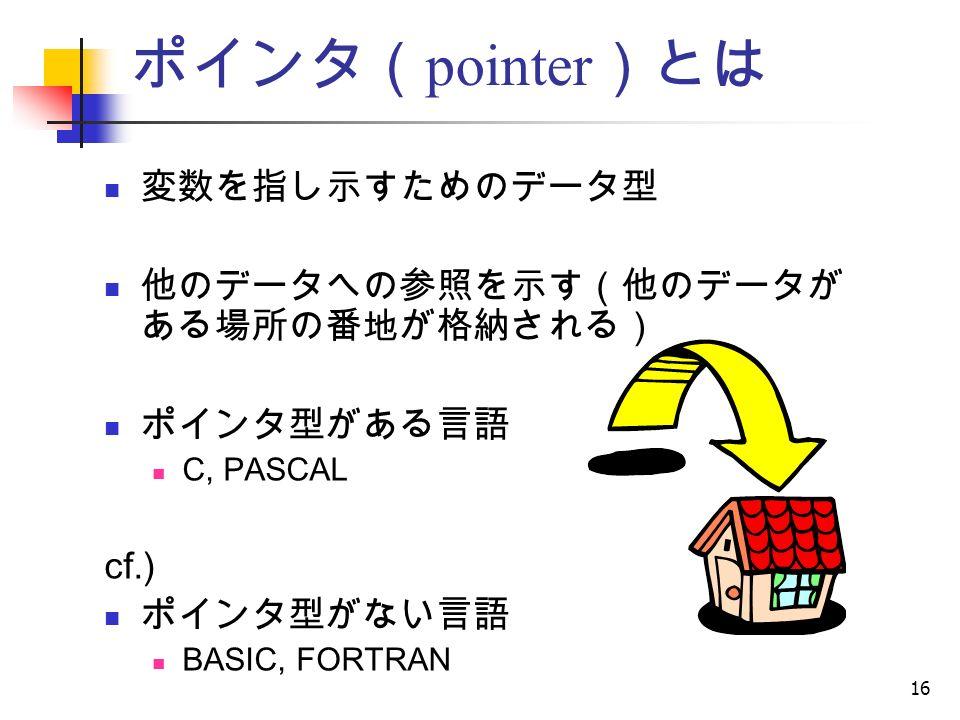 16 ポインタ( pointer )とは 変数を指し示すためのデータ型 他のデータへの参照を示す(他のデータが ある場所の番地が格納される) ポインタ型がある言語 C, PASCAL cf.) ポインタ型がない言語 BASIC, FORTRAN
