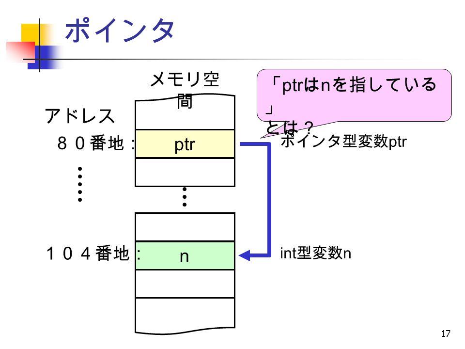 17 ポインタ ポインタ型変数 ptr アドレス n 104番地 : メモリ空 間 ptr 80番地 : 「 ptr は n を指している 」 とは? int 型変数 n