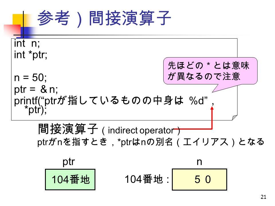 21 参考)間接演算子 int n; int *ptr; n = 50; ptr = & n; printf( ptr が指しているものの中身は %d , *ptr); ptr 104 番地 : 104 番地 間接演算子 ( indirect operator ) ptr が n を指すとき, *ptr は n の別名(エイリアス)となる n 50 先ほどの*とは意味 が異なるので注意