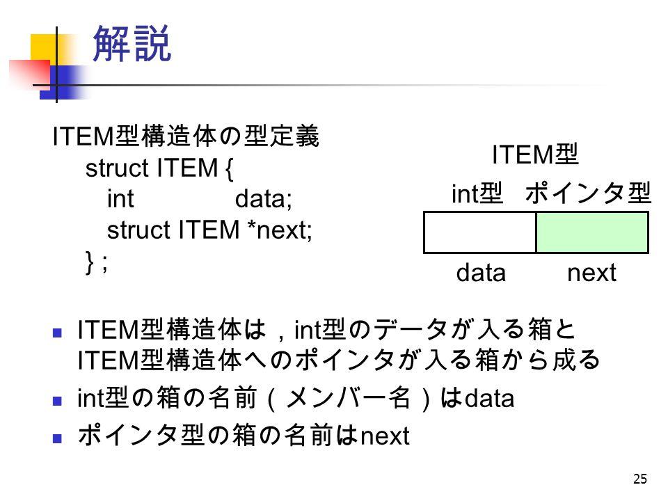 25 解説 ITEM 型構造体の型定義 struct ITEM { int data; struct ITEM *next; } ; ITEM 型構造体は, int 型のデータが入る箱と ITEM 型構造体へのポインタが入る箱から成る int 型の箱の名前(メンバー名)は data ポインタ型の箱の名前は next ITEM 型 int 型 ポインタ型 data next