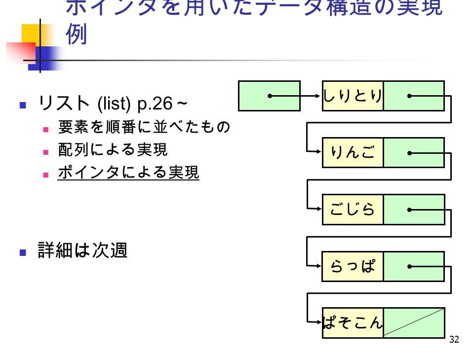 32 ポインタを用いたデータ構造の実現 例 リスト (list) p.26 ~ 要素を順番に並べたもの 配列による実現 ポインタによる実現 詳細は次週 しりとり りんご ごじら らっぱ ぱそこん