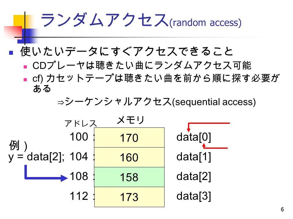 6 ランダムアクセス (random access) 使いたいデータにすぐアクセスできること CD プレーヤは聴きたい曲にランダムアクセス可能 cf) カセットテープは聴きたい曲を前から順に探す必要が ある ⇒シーケンシャルアクセス (sequential access) 例) 170 160 158 173 data[0] data[1] data[2] data[3] アドレス メモリ 100 : 104 : 108 : 112 : y = data[2];