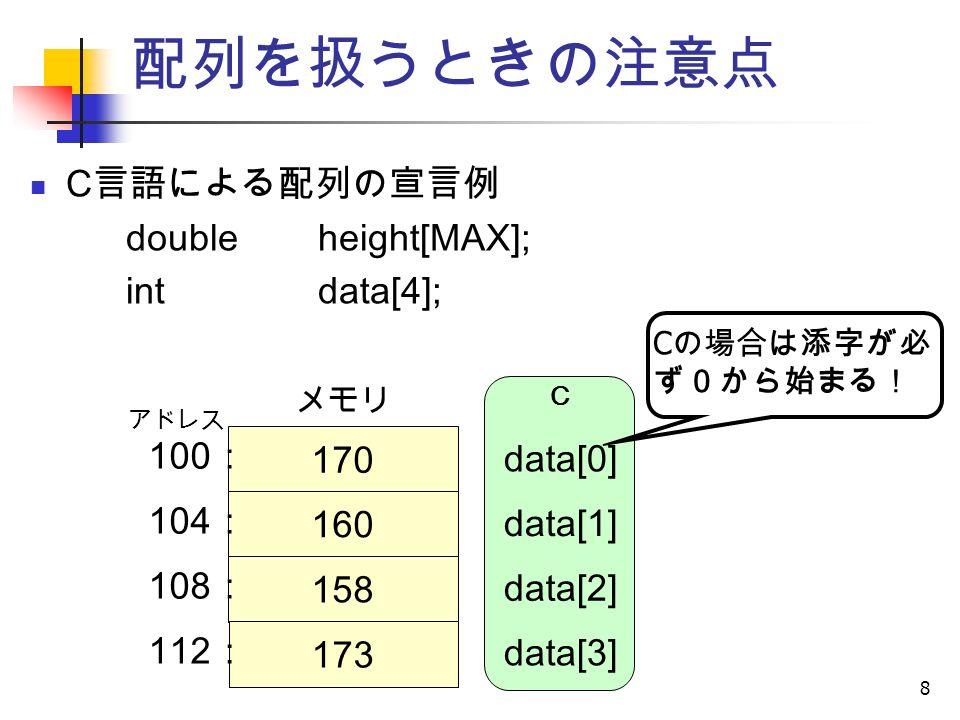 8 配列を扱うときの注意点 C 言語による配列の宣言例 doubleheight[MAX]; intdata[4]; 170 160 158 173 アドレス data[0] data[1] data[2] data[3] C C の場合は添字が必 ず0から始まる! 100 : 104 : 108 : 112 : メモリ