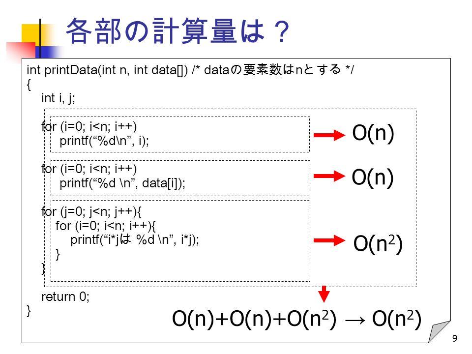 9 各部の計算量は? int printData(int n, int data[]) /* data の要素数は n とする */ { int i, j; for (i=0; i<n; i++) printf( %d\n , i); for (i=0; i<n; i++) printf( %d \n , data[i]); for (j=0; j<n; j++){ for (i=0; i<n; i++){ printf( i*j は %d \n , i*j); } return 0; } O(n) O(n 2 ) O(n)+O(n)+O(n 2 ) → O(n 2 )