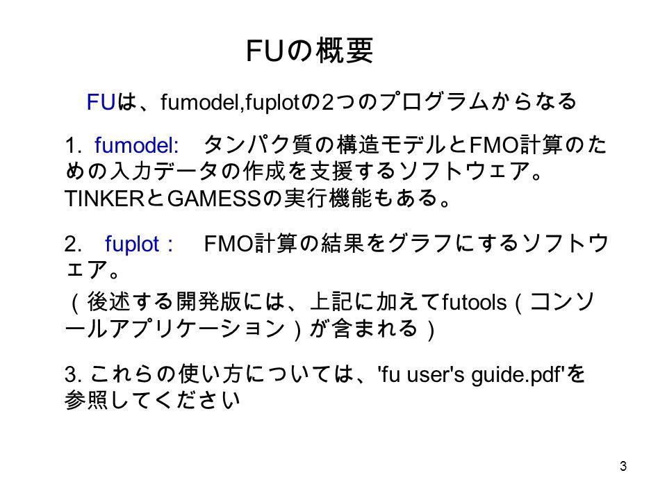 3 FU の概要 FU は、 fumodel,fuplot の 2 つのプログラムからなる 1.