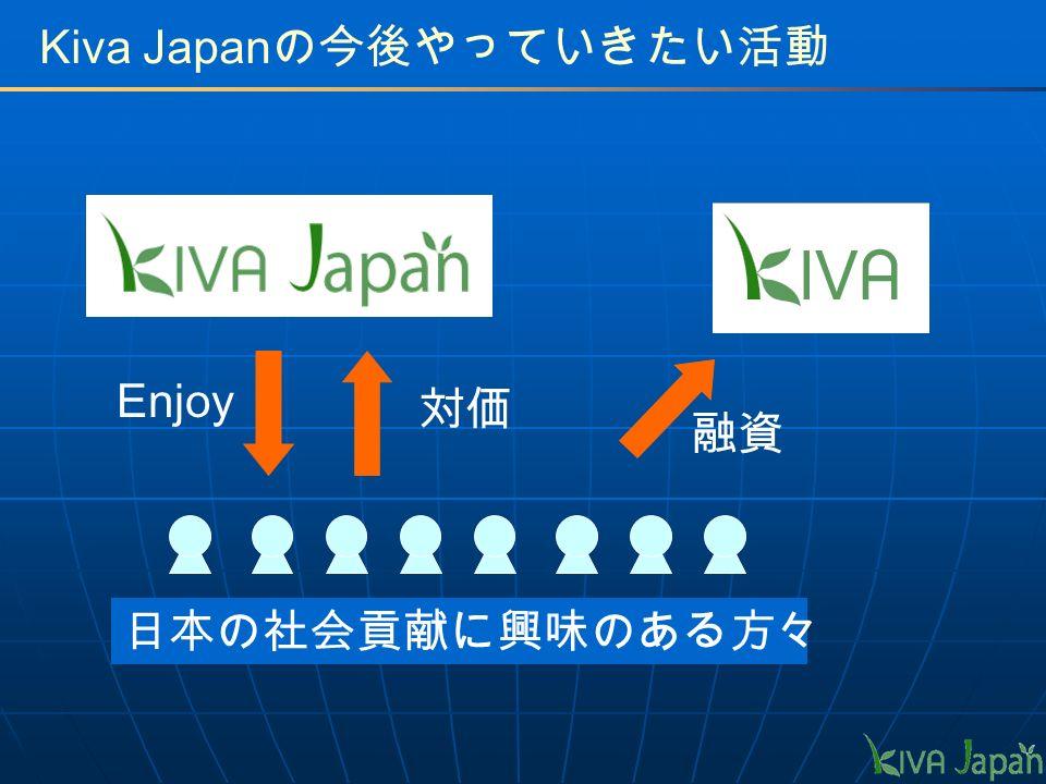 Kiva Japan の今後やっていきたい活動 Enjoy 対価 日本の社会貢献に興味のある方々 融資