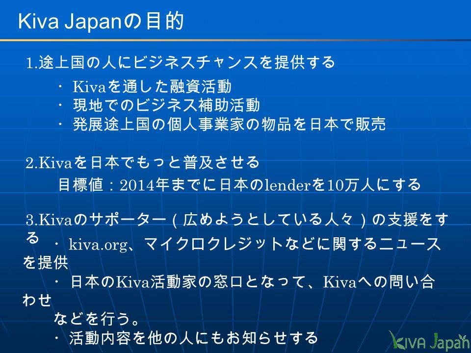 Kiva Japan の目的 1.