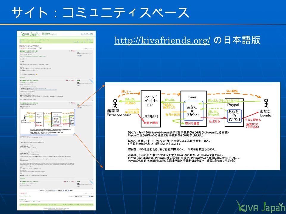 http://kivafriends.org/http://kivafriends.org/ の日本語版 サイト:コミュニティスペース