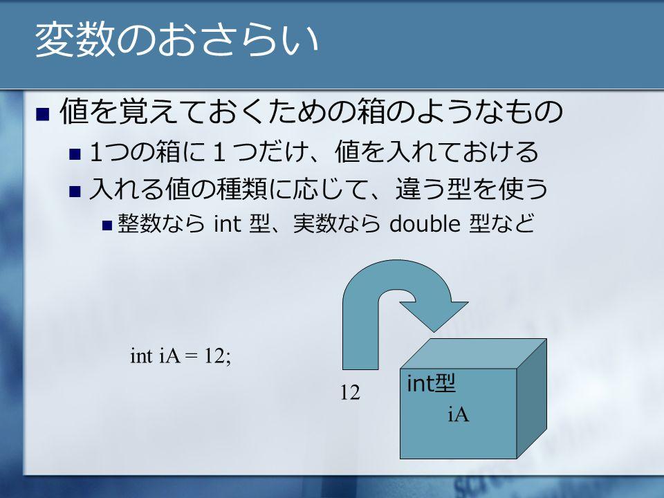 変数のおさらい 値を覚えておくための箱のようなもの 1つの箱に1つだけ、値を入れておける 入れる値の種類に応じて、違う型を使う 整数なら int 型、実数なら double 型など iA int iA = 12; 12 int型