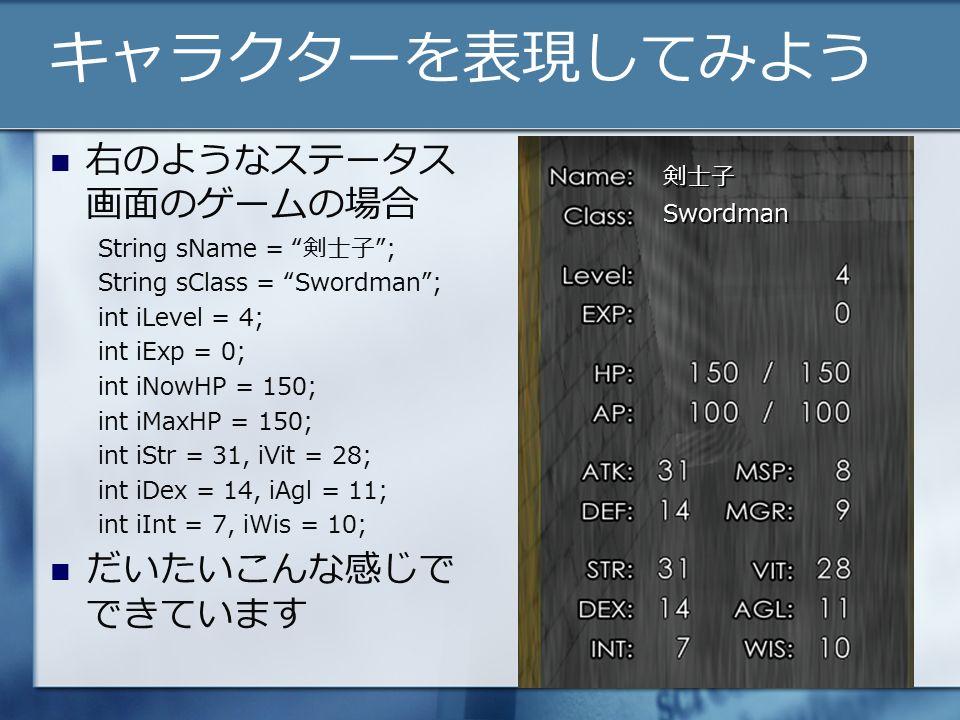 キャラクターを表現してみよう 右のようなステータス 画面のゲームの場合 String sName = 剣士子 ; String sClass = Swordman ; int iLevel = 4; int iExp = 0; int iNowHP = 150; int iMaxHP = 150; int iStr = 31, iVit = 28; int iDex = 14, iAgl = 11; int iInt = 7, iWis = 10; だいたいこんな感じで できています 剣士子 Swordman