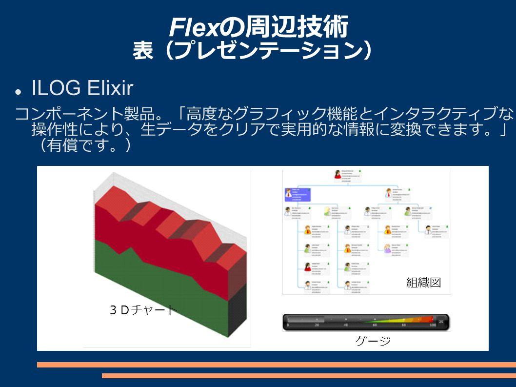 Flex の周辺技術 表(プレゼンテーション) ILOG Elixir コンポーネント製品。「高度なグラフィック機能とインタラクティブな 操作性により、生データをクリアで実用的な情報に変換できます。」 (有償です。) 3Dチャート 組織図 ゲージ