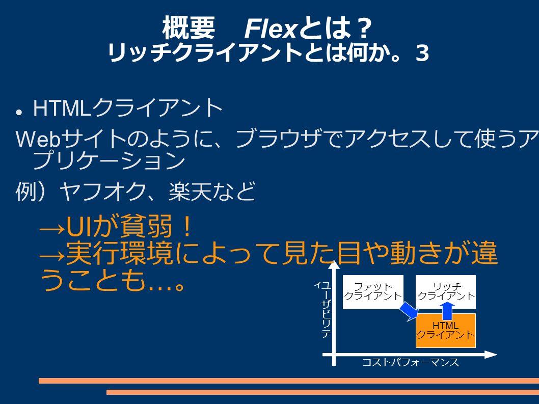 概要 Flex とは? リッチクライアントとは何か。3 HTML クライアント Web サイトのように、ブラウザでアクセスして使うア プリケーション 例)ヤフオク、楽天など ファット クライアント リッチ クライアント HTML クライアント コストパフォーマンス →UI が貧弱! → 実行環境によって見た目や動きが違 うことも … 。