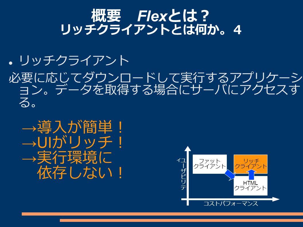 概要 Flex とは? リッチクライアントとは何か。4 リッチクライアント 必要に応じてダウンロードして実行するアプリケーシ ョン。データを取得する場合にサーバにアクセスす る。 ファット クライアント リッチ クライアント HTML クライアント コストパフォーマンス → 導入が簡単! →UI がリッチ! → 実行環境に 依存しない!