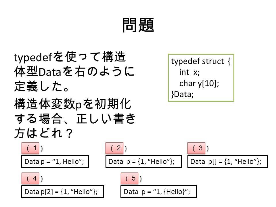 問題 typedef を使って構造 体型 Data を右のように 定義した。 構造体変数 p を初期化 する場合、正しい書き 方はどれ? typedef struct { int x; char y[10]; }Data; Data p = 1, Hello ;Data p = {1, Hello };Data p[] = {1, Hello }; (1) (2) (3) Data p[2] = {1, Hello }; (4) Data p = 1, {Hello} ; (5)