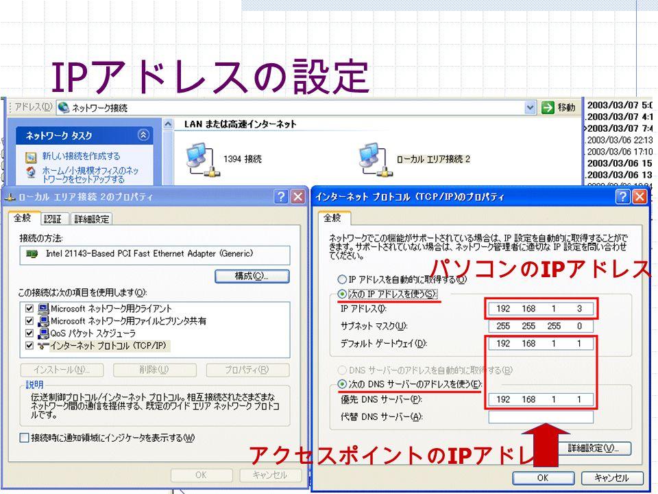 IP アドレスの設定 アクセスポイントの IP アドレス パソコンの IP アドレス