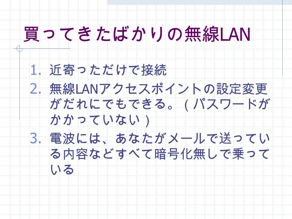 買ってきたばかりの無線 LAN 1. 近寄っただけで接続 2. 無線 LAN アクセスポイントの設定変更 がだれにでもできる。(パスワードが かかっていない) 3.