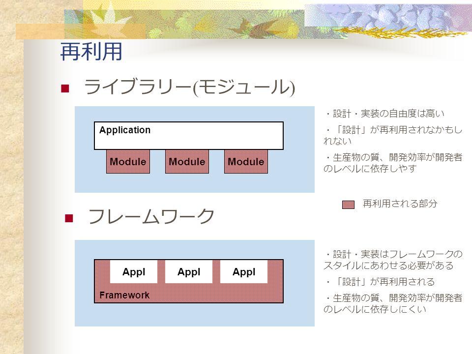 再利用 ライブラリー ( モジュール ) フレームワーク Application Module Application Module Application Module Framework Appl 再利用される部分 ・設計・実装の自由度は高い ・「設計」が再利用されなかもし れない ・生産物の質、開発効率が開発者 のレベルに依存しやす ・設計・実装はフレームワークの スタイルにあわせる必要がある ・「設計」が再利用される ・生産物の質、開発効率が開発者 のレベルに依存しにくい