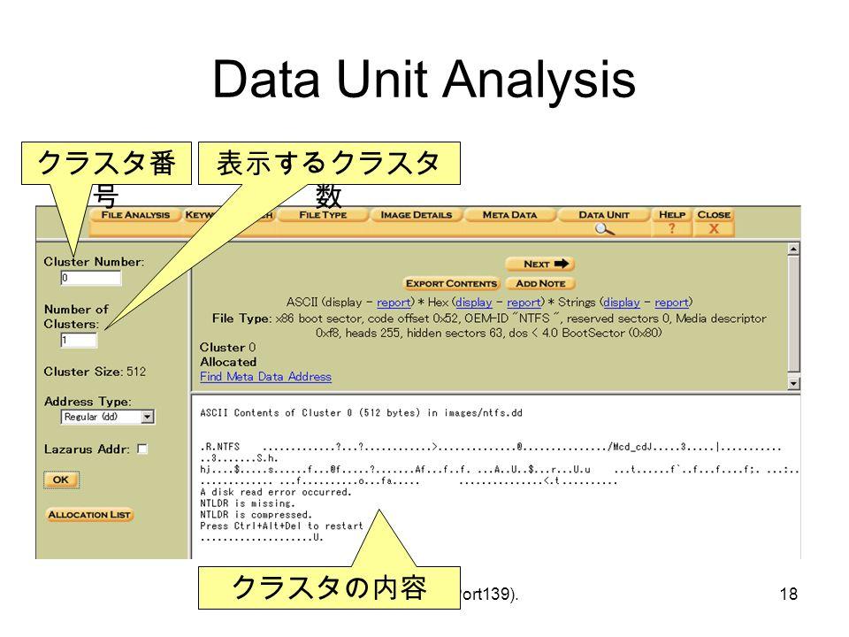 © Hideaki Ihara(Port139).18 Data Unit Analysis クラスタ番 号 表示するクラスタ 数 クラスタの内容