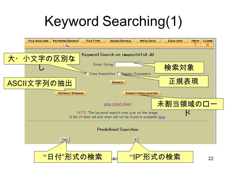 © Hideaki Ihara(Port139).22 Keyword Searching(1) 大・小文字の区別な し 正規表現 日付 形式の検索 IP 形式の検索 未割当領域のロー ド ASCII 文字列の抽出 検索対象