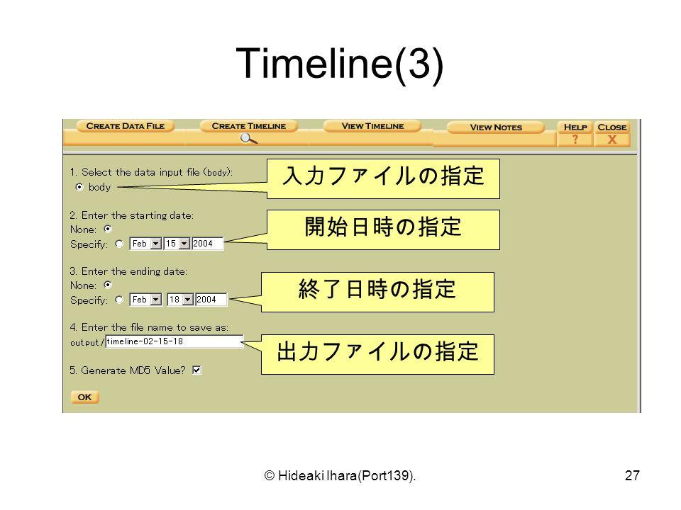 © Hideaki Ihara(Port139).27 Timeline(3) 入力ファイルの指定 開始日時の指定 終了日時の指定 出力ファイルの指定