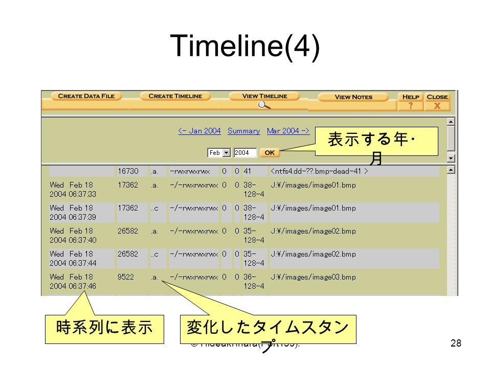 © Hideaki Ihara(Port139).28 Timeline(4) 時系列に表示 変化したタイムスタン プ 表示する年・ 月