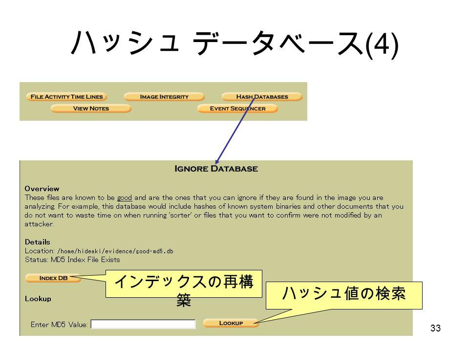 © Hideaki Ihara(Port139).33 ハッシュ データベース (4) インデックスの再構 築 ハッシュ値の検索