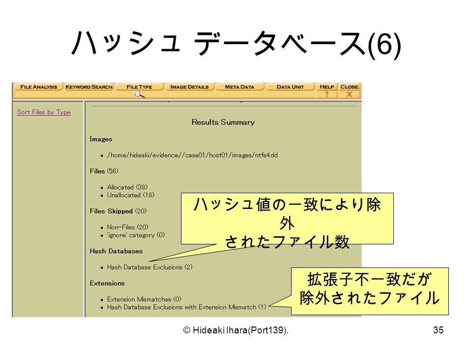 © Hideaki Ihara(Port139).35 ハッシュ データベース (6) ハッシュ値の一致により除 外 されたファイル数 拡張子不一致だが 除外されたファイル