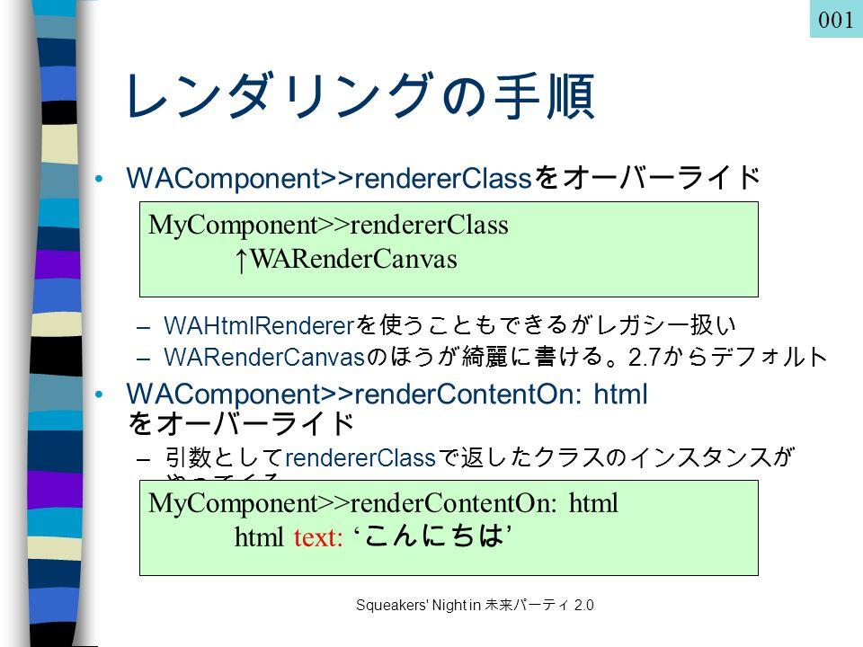 Squeakers Night in 未来パーティ 2.0 レンダリングの手順 WAComponent>>rendererClass をオーバーライド –WAHtmlRenderer を使うこともできるがレガシー扱い –WARenderCanvas のほうが綺麗に書ける。 2.7 からデフォルト WAComponent>>renderContentOn: html をオーバーライド – 引数として rendererClass で返したクラスのインスタンスが やってくる MyComponent>>rendererClass ↑WARenderCanvas MyComponent>>renderContentOn: html html text: ' こんにちは ' 001