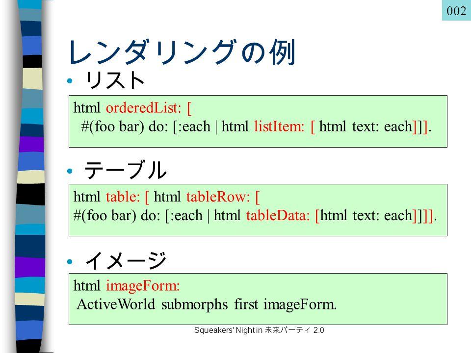 Squeakers Night in 未来パーティ 2.0 レンダリングの例 リスト テーブル イメージ html orderedList: [ #(foo bar) do: [:each | html listItem: [ html text: each]]].