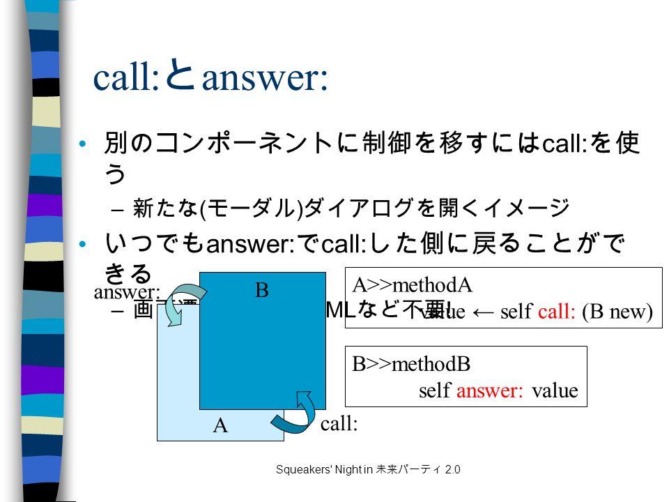 Squeakers Night in 未来パーティ 2.0 call: と answer: 別のコンポーネントに制御を移すには call: を使 う – 新たな ( モーダル ) ダイアログを開くイメージ いつでも answer: で call: した側に戻ることがで きる – 画面遷移のための XML など不要 .
