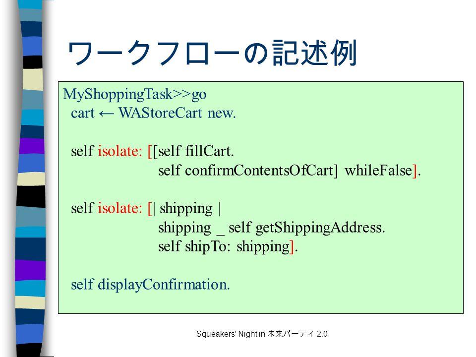 Squeakers Night in 未来パーティ 2.0 ワークフローの記述例 MyShoppingTask>>go cart ← WAStoreCart new.