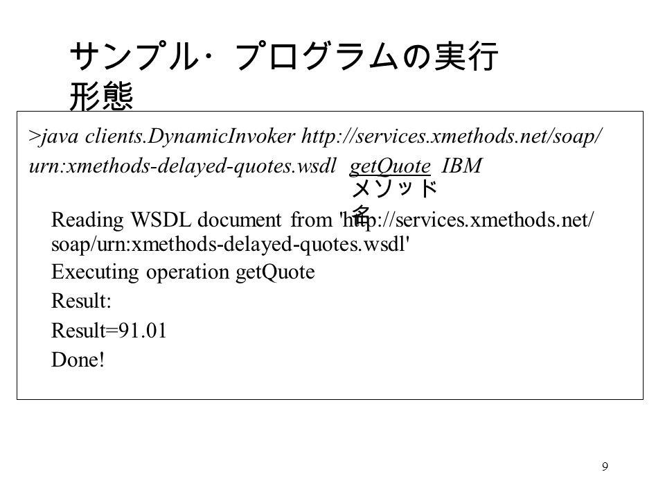 9 サンプル・プログラムの実行 形態 >java clients.DynamicInvoker http://services.xmethods.net/soap/ urn:xmethods-delayed-quotes.wsdl getQuote IBM Reading WSDL document from http://services.xmethods.net/ soap/urn:xmethods-delayed-quotes.wsdl Executing operation getQuote Result: Result=91.01 Done.