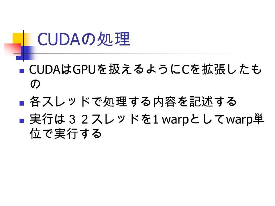 CUDA の処理 CUDA は GPU を扱えるように C を拡張したも の 各スレッドで処理する内容を記述する 実行は32スレッドを 1 warp として warp 単 位で実行する