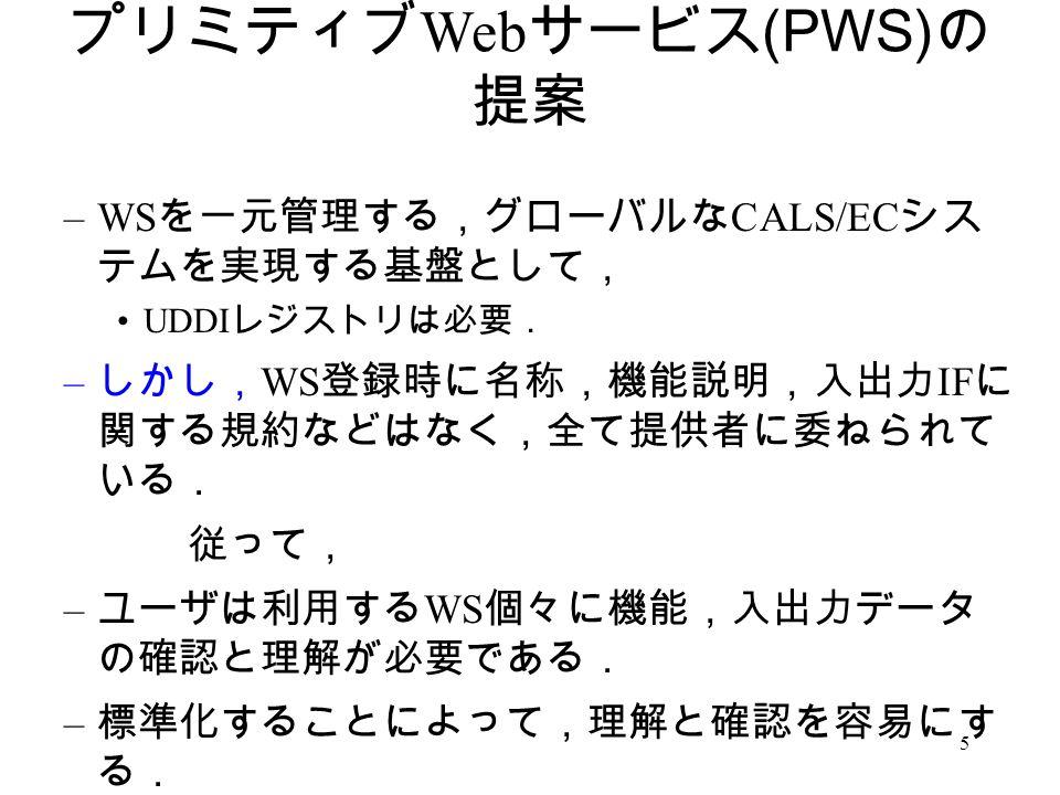5 プリミティブ Web サービス (PWS) の 提案 –WS を一元管理する,グローバルな CALS/EC シス テムを実現する基盤として, UDDI レジストリは必要. – しかし, WS 登録時に名称,機能説明,入出力 IF に 関する規約などはなく,全て提供者に委ねられて いる. 従って, – ユーザは利用する WS 個々に機能,入出力データ の確認と理解が必要である. – 標準化することによって,理解と確認を容易にす る.