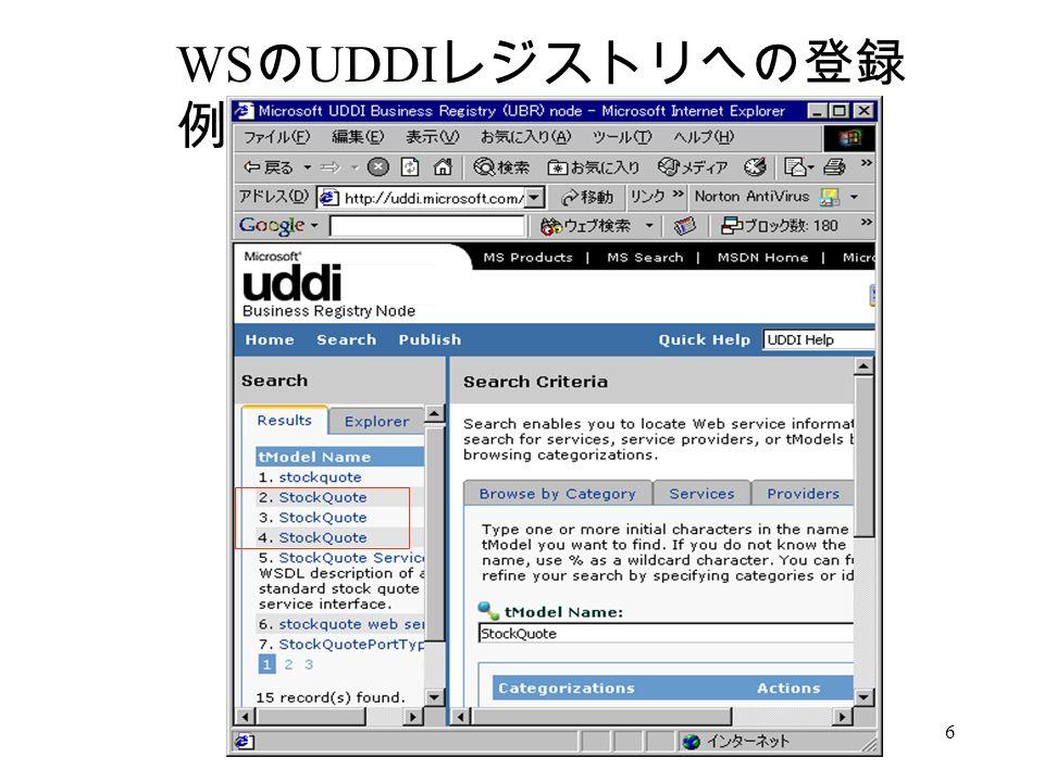 6 WS の UDDI レジストリへの登録 例