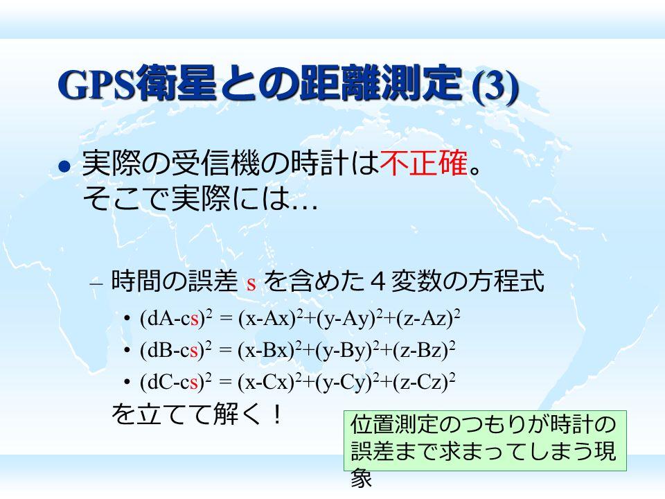 GPS 衛星との距離測定 (3) 実際の受信機の時計は不正確。 そこで実際には … – 時間の誤差 s を含めた4変数の方程式 (dA-cs) 2 = (x-Ax) 2 +(y-Ay) 2 +(z-Az) 2 (dB-cs) 2 = (x-Bx) 2 +(y-By) 2 +(z-Bz) 2 (dC-cs) 2 = (x-Cx) 2 +(y-Cy) 2 +(z-Cz) 2 を立てて解く! 位置測定のつもりが時計の 誤差まで求まってしまう現 象